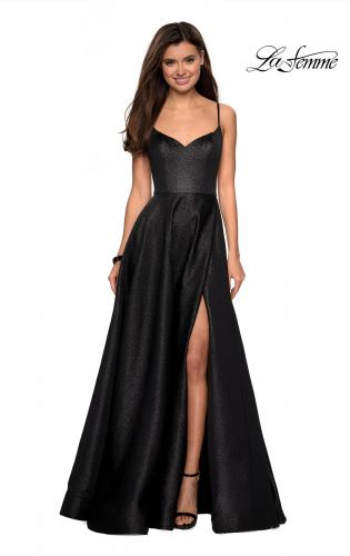 96c826ebb3 ... Picture of  Metallic A-line Prom Gown with Side Leg Slit