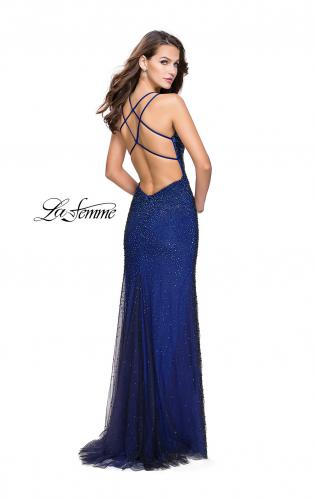 Picture of: Metallic Beaded Form Fitting Prom Dress with Slit, Style: 26228, Back Picture