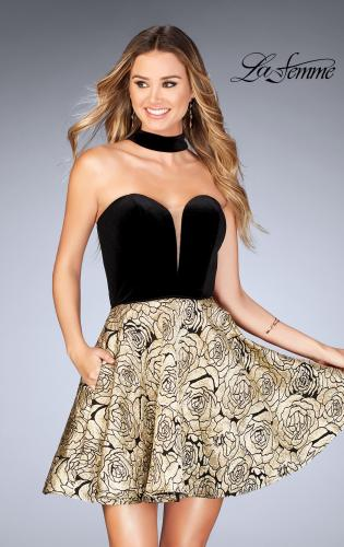 Picture of: Short Metallic Homecoming Dress with Choker, Style: 25168, Main Picture