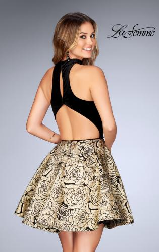 Picture of: Short Metallic Homecoming Dress with Choker, Style: 25168, Back Picture