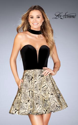 Picture of: Short Metallic Homecoming Dress with Choker, Style: 25168, Detail Picture 1