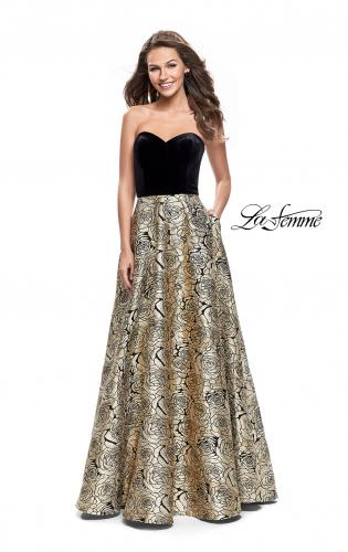 Picture of: Strapless Ball Gown with Velvet Bodice and Rose Print Skirt, Style: 25581, Main Picture