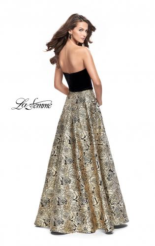 Picture of: Strapless Ball Gown with Velvet Bodice and Rose Print Skirt, Style: 25581, Back Picture