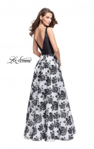 Picture of: Floral Printed A-line Prom Dress with Low V Back, Style: 25976, Back Picture