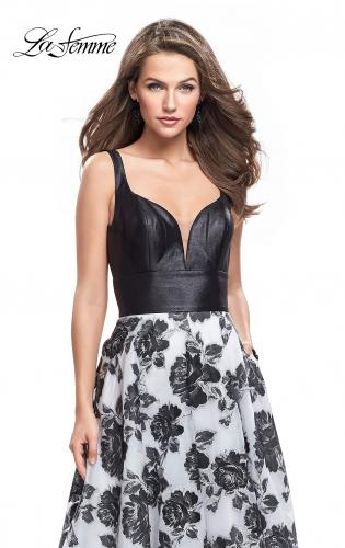 Picture of: Floral Printed A-line Prom Dress with Low V Back, Style: 25976, Detail Picture 1