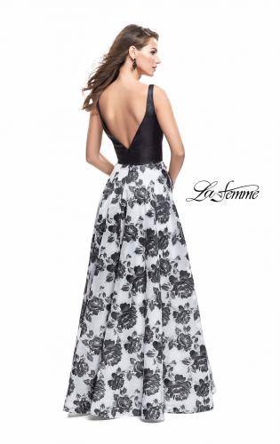 Picture of: Floral Printed A-line Prom Dress with Low V Back, Style: 25976, Detail Picture 2