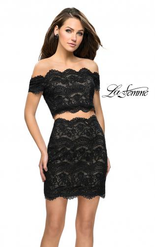 Picture of: Lace Two Piece Dress Set with Off the Shoulder Top, Style: 26666, Main Picture