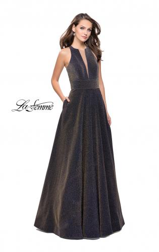 Picture of: Long Sparkling Prom Dress with High Neck and Cut Outs, Style: 26073, Detail Picture 1