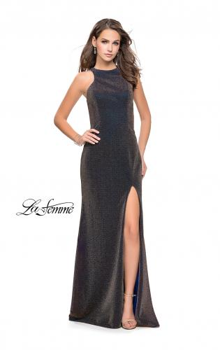 Picture of: Sparkling Jersey Prom Dress with High Neck and Slit, Style: 25908, Detail Picture 2