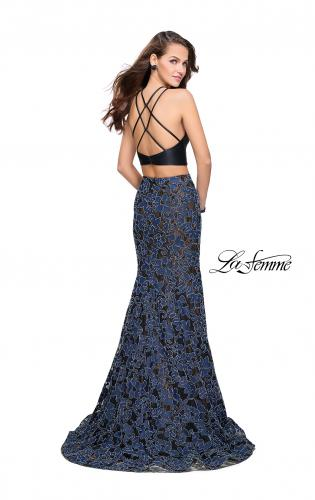 Picture of: Two Piece Mermaid Prom Dress with Vegan Leather Top, Style: 25602, Back Picture