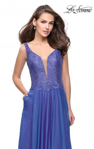 Picture of: Long Evening Gown with Chiffon Skirt and Scoop Open Back, Style: 25513, Detail Picture 1