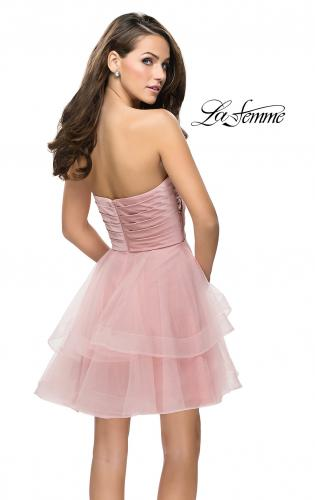 Picture of: Short Homecoming Dress with Tiered Tulle Skirt, Style: 26654, Back Picture