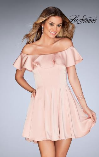Picture of: A-line Short Satin Dress with Off the Shoulder Detail, Style: 25070, Detail Picture 1