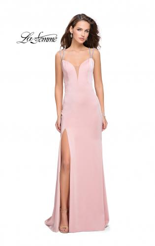 Picture of: Long Jersey Dress with Metallic Straps and Embellishments, Style: 25660, Main Picture