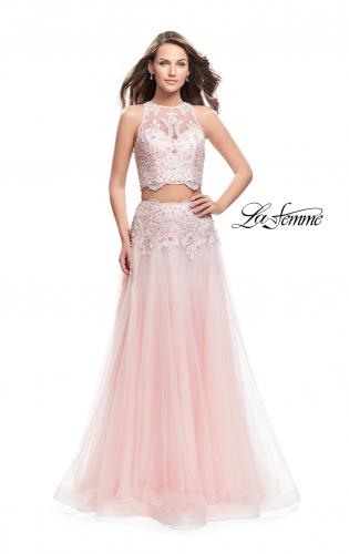 Picture of: Beaded and Lace Two Piece Dress With Tulle Skirt, Style: 26309, Main Picture