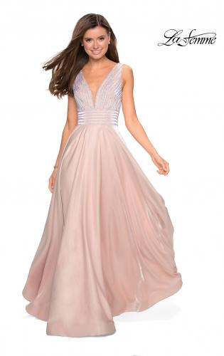 cc4c899f0c Picture of  Satin Prom Gown with beaded Bust and Pockets