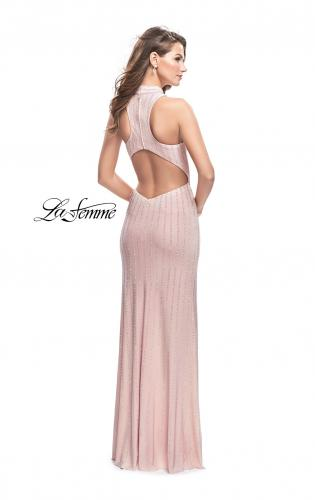Picture of: Form Fitting Prom Dress with Rhinestones and Racer Back, Style: 25967, Back Picture