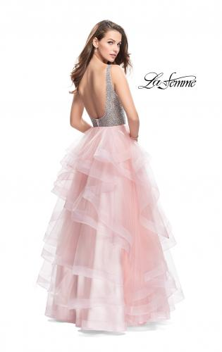 Picture of: Beaded Bodice Ball Gown with Tulle Skirt, Style: 26223, Back Picture