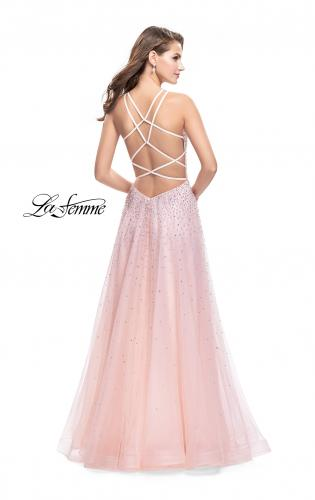 Picture of: High Neck Tulle A-line Prom Dress with Pockets, Style: 26250, Back Picture