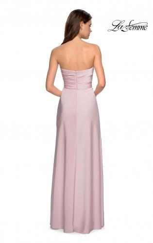 Picture of: Strapless Jersey Prom Dress with Ruching and Slit, Style: 26794, Back Picture