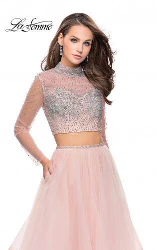 Picture of: Long Sleeve Two Piece Dress with Tulle Ruffle Skirt, Style: 25555, Detail Picture 1