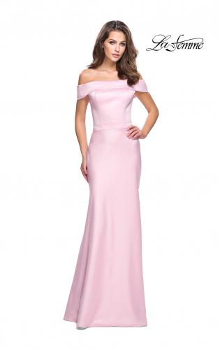 Picture of: Satin Off the Shoulder Dress with Trumpet Silhouette, Style: 25579, Detail Picture 1
