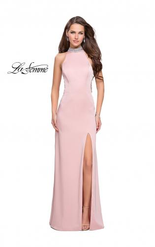 Picture of: Jersey Prom Gown with Metallic Beading and Leg Slit, Style: 25767, Detail Picture 1
