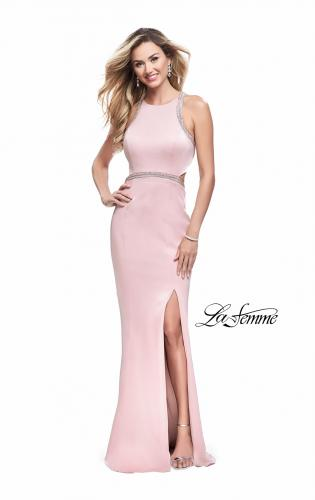 Picture of: Long Jersey Prom Dress with High Neck and Cut Outs, Style: 26069, Detail Picture 1