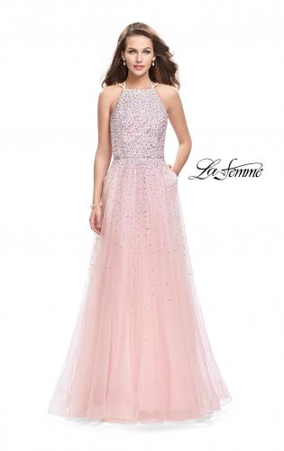Picture of: High Neck Tulle A-line Prom Dress with Pockets, Style: 26250, Detail Picture 1