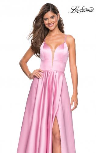 ... Picture of  Long Satin Formal Gown with Leg Slit and Strappy Back fb19abd0b