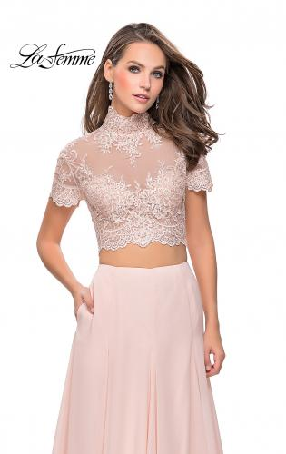 Picture of: Two Piece Dress with Beaded Lace Top and Sheer Back, Style: 25401, Detail Picture 2