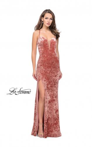 Picture of: Crushed Velvet Form Fitting Gown with Leg Slit and Open Back, Style: 25659, Detail Picture 2