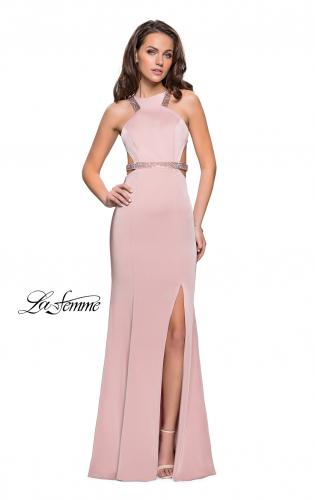 Picture of: Beaded Form Fitting Long Prom Dress with Leg Slit, Style: 26129, Detail Picture 2