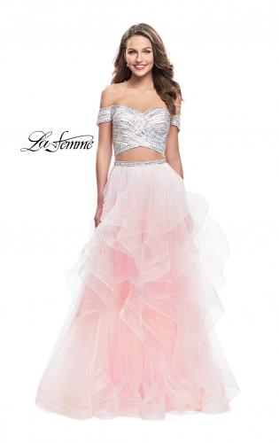 Picture of: Off the Shoulder A-line Gown with Ruffle Tulle Skirt, Style: 26169, Detail Picture 2