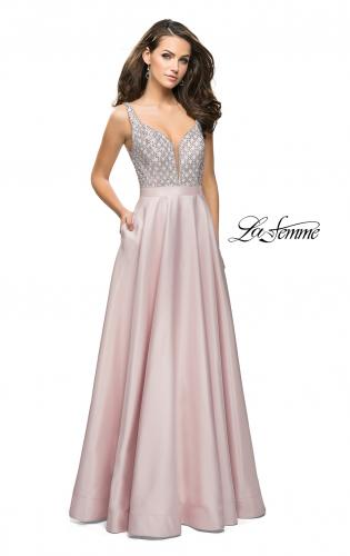 Picture of: Long Mikado Prom Dress with Beaded Bodice, Style: 26203, Detail Picture 2