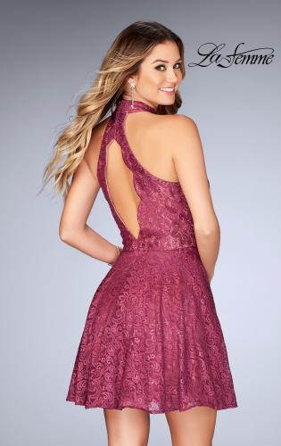 Picture of: Short Halter Top Dress with Scallop Keyhole Back, Style: 25099, Back Picture