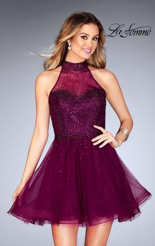 Picture of: Short Tulle Dress with High Neckline and Beading, Style: 25293, Detail Picture 2