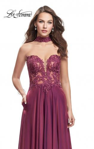 Picture of: Long Strapless Prom Dress with Pockets and Choker, Style: 25450, Detail Picture 1