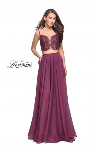 Picture of: Two Piece Gown with Beaded Lace Bodice and A-line Skirt, Style: 25830, Detail Picture 2