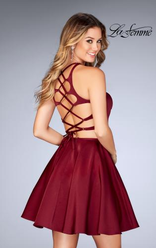 Picture of: Short Two Piece Homecoming Dress with Lace Up Back, Style: 25114, Main Picture