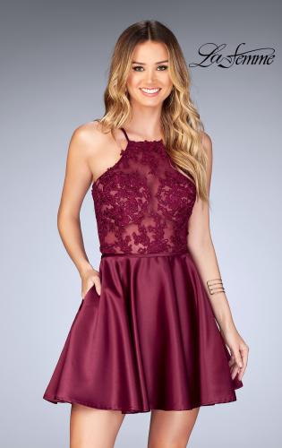 Picture of: Sheer Illusion Dress with Scattered Lace and Short Skirt, Style: 25202, Main Picture