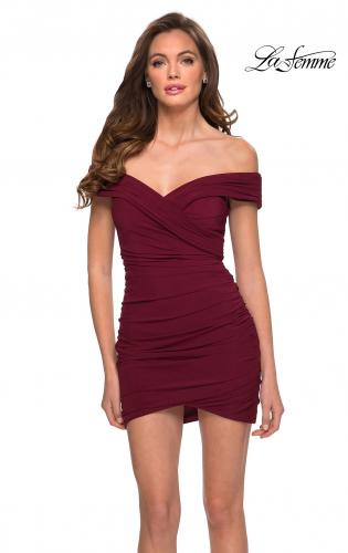 Picture of: Short Off The Shoulder Jersey Homecoming Dress in Burgundy, Style: 29486, Main Picture