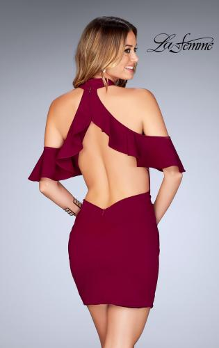 Picture of: Ruffle Halter Top Dress with Tight Jersey Skirt, Style: 25147, Back Picture