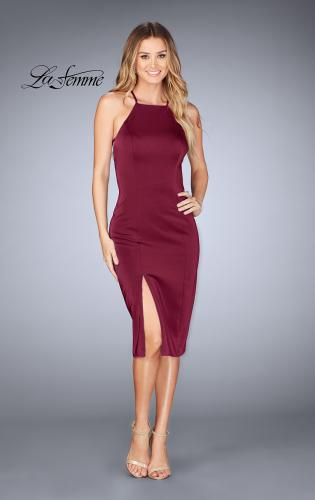 Picture of: Knee Length Jersey Evening Dress with Front Slit, Style: 25083, Detail Picture 1