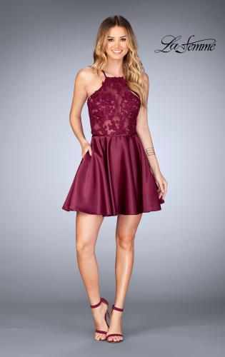 Picture of: Sheer Illusion Dress with Scattered Lace and Short Skirt, Style: 25202, Detail Picture 2
