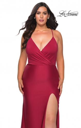 Picture of: Jersey Prom Dress for Curves with Slit and Criss Cross Back in Burgundy, Style: 29022, Main Picture