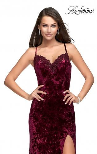 Picture of: Crushed Velvet Prom Dress with Lace Neckline, Style: 25881, Main Picture