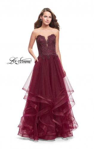Picture of: Long Strapless Ball Gown with ruffle Tulle Skirt and Beads, Style: 26242, Main Picture