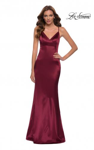 Picture of: Chic Long Stretch Satin Gown with V Neck and Back in Burgundy, Style 29960, Main Picture
