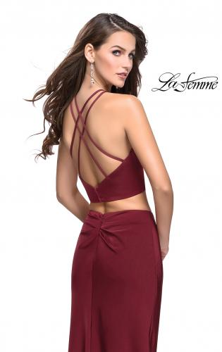Picture of: Two Piece Jersey Prom Dress with Wrap Style Ruching, Style: 25731, Back Picture